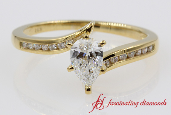 Twist Channel Pear Diamond Engagement Ring In 14k Yellow Gold