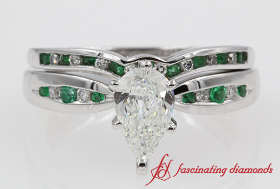 Pear Channel Emerald Ring Set