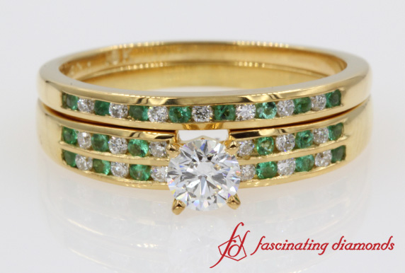 Diamond Channel Emerald Wedding Set