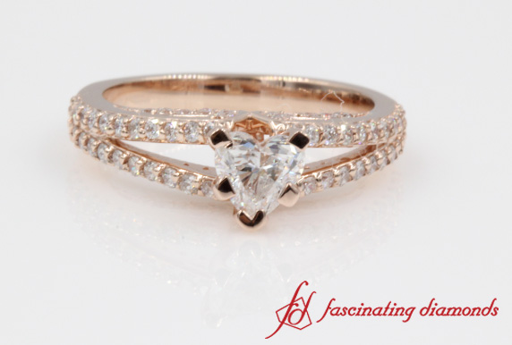 Pave Split Heart Shaped Ring