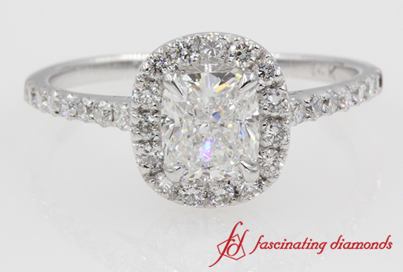 Halo Cushion Cut Diamond Ring