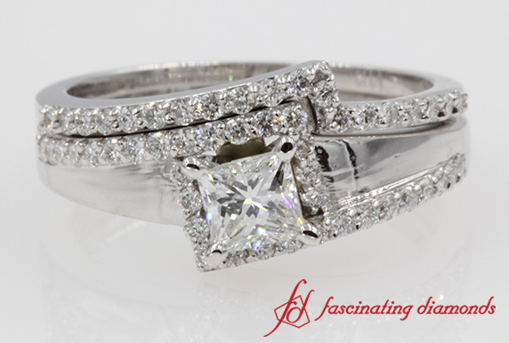 Halo Diamond Crossover Ring Set