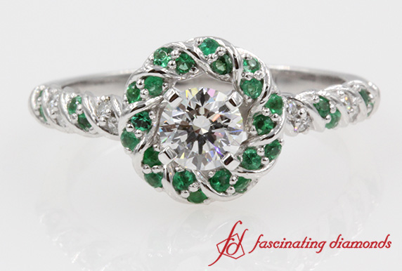 Rope Twist Emerald Halo Ring