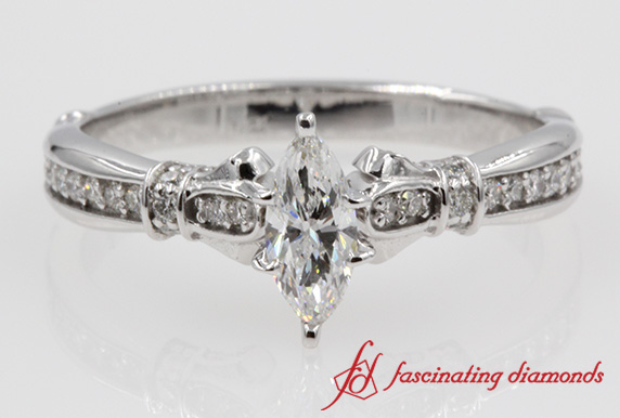 Pave Set Accented Marquise Ring