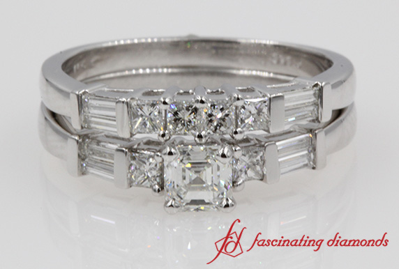 Asscher Diamond Baguette Ring Set