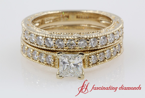 Milgrain Pave Princess Diamond Ring Set