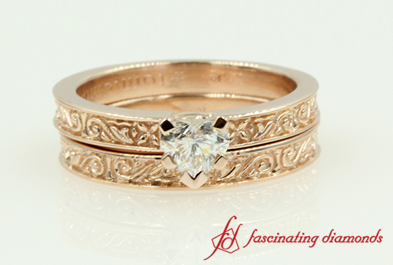 Floral Carved Wedding Ring Set
