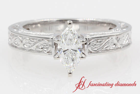 Filigree Diamond Solitaire Ring