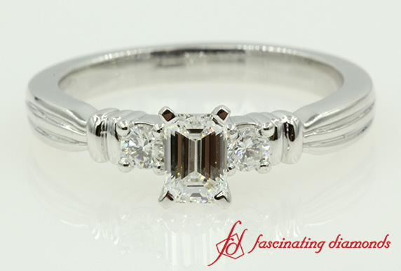 Emerald Cut Double Bar Ring