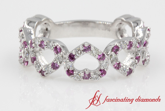 Pink Sapphire Heart Shaped Eternity Band