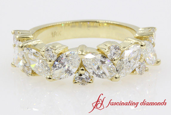 Women Marquise And Round Diamond Wedding Band In Yellow Gold