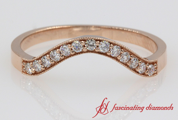 Round Curved Diamond Wedding Band