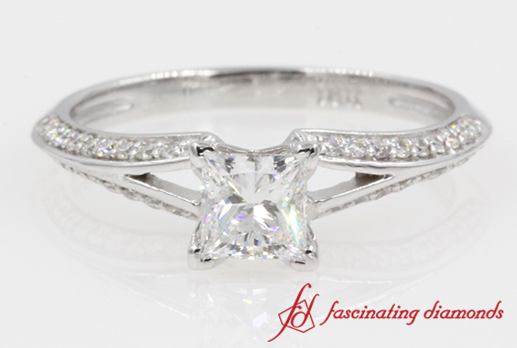 Pave Split Engagement Ring