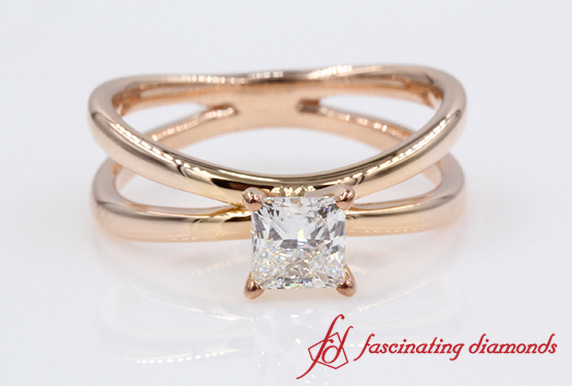 Split Solitaire Princess Cut Diamond Engagement Ring In Rose Gold
