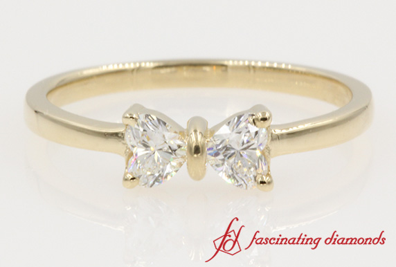 Simple 2 Heart Diamond Ring