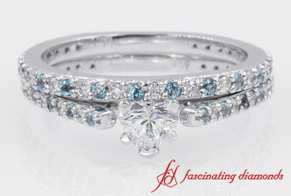 Simple Design Heart Diamond With Blue Topaz Wedding Ring Set In White Gold
