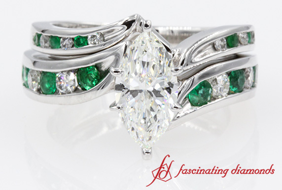 Swirl Channel Marquise Diamond With Emerald Bridal Set In White Gold