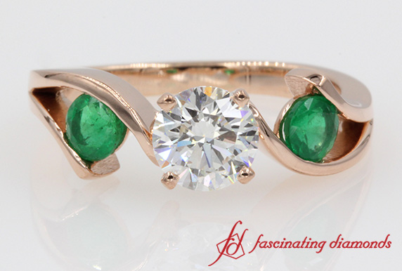 Tension Set 3 Stone Ring With Emerald In 14K Rose Gold