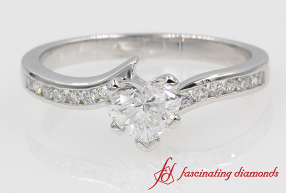 Channel Set Heart Diamond Ring