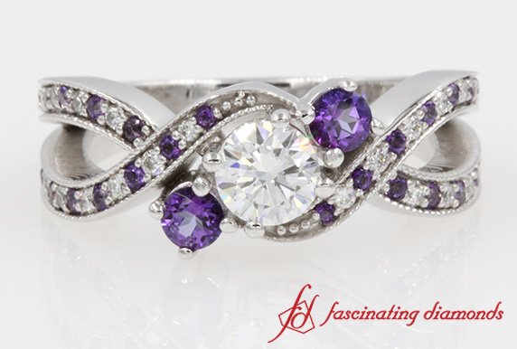 3 Stone Engagement Ring With Purple Topaz In White Gold