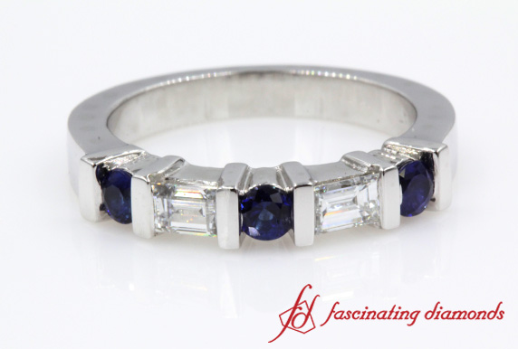 Sapphire And Baguette Wedding Band