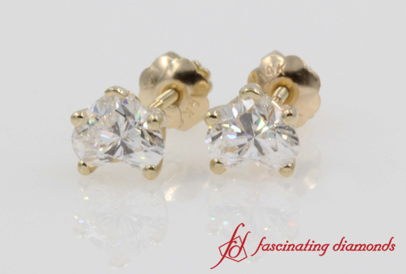 Gold Heart Stud Earring