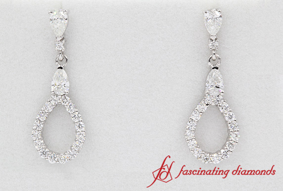 1.50 Carat Teardrop Earring In White Gold