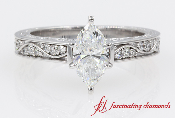 Antique Looking Marquise Diamond Engagement Ring In White Gold