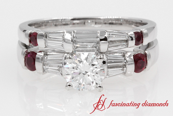 Baguette Diamond With Ruby Wedding Ring Set