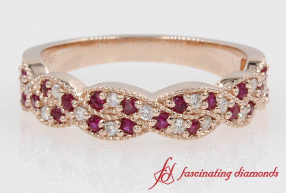 Braided Round Diamond With Ruby Wedding Band In Rose Gold