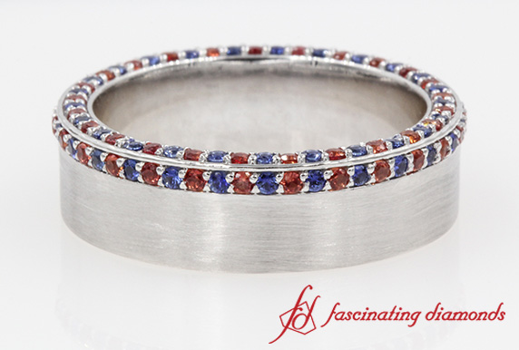 Ruby Wedding Gifts For Men: Customized Ruby And Sapphire Mens Wedding Band In White Gold