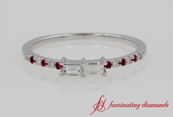 Dual Baguette Ring With Ruby