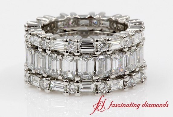 Emerald Cut with Round Eternity Band