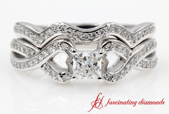 Pave Princess Cut Wedding Ring Set