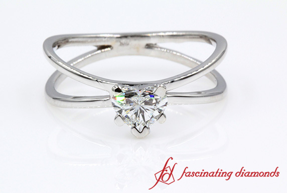 Solitaire Split Shank Ring
