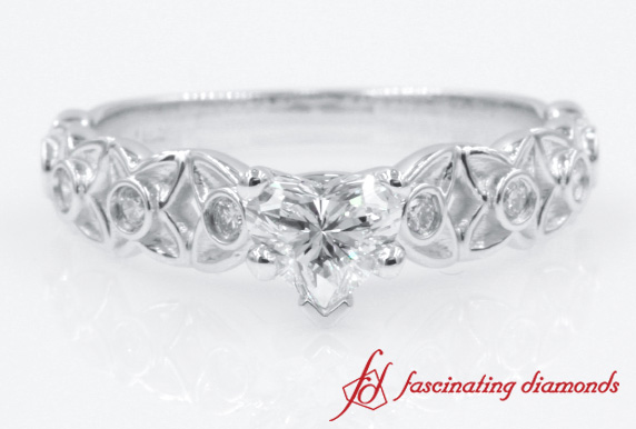 Floral Design Heart Diamond Vintage Ring