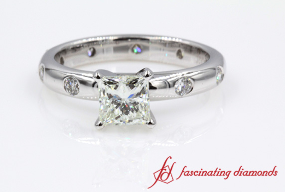 Flush Set Princess Cut Diamond Ring
