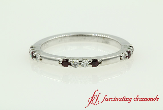 Round Diamond With Ruby Wedding Band In White Gold