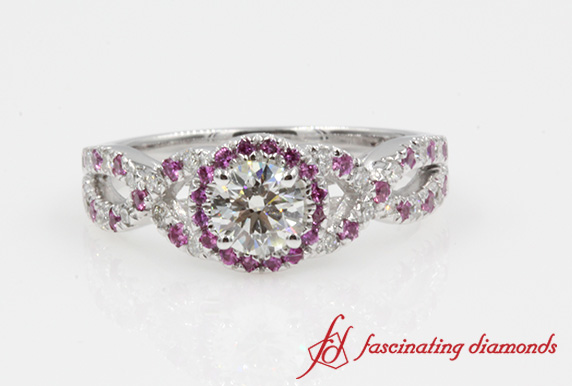 Split Round Halo Diamond Ring