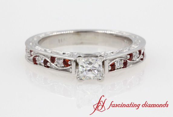 Filigree Princess Cut Diamond Vintage Ring With Ruby In White Gold