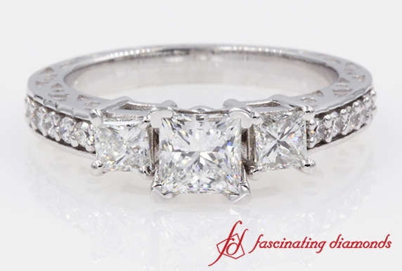 Filigree 3 Stone Princess Cut Diamond Ring