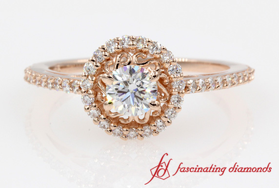 Filigree Design Halo Diamond Ring