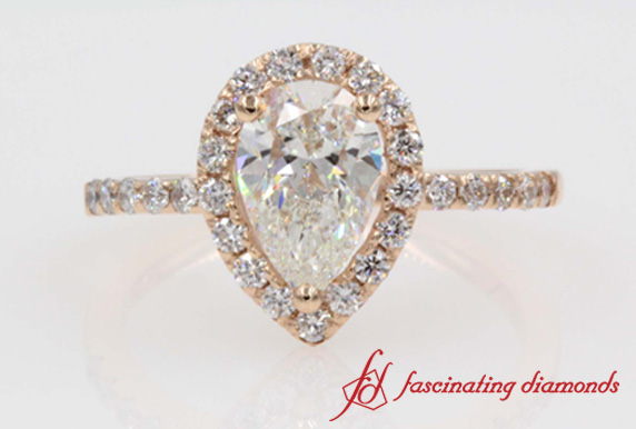 Halo Pear Shaped Diamond Ring