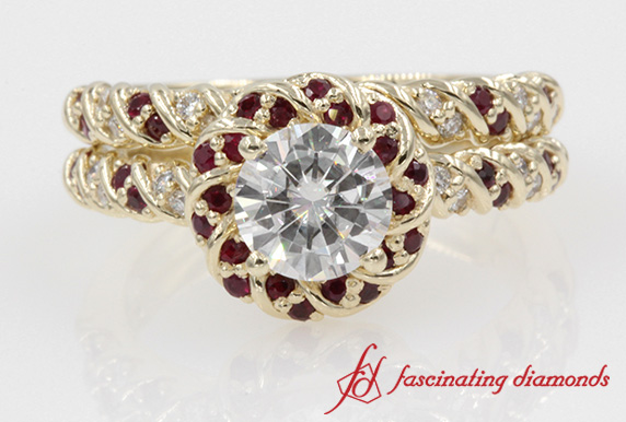 Halo Round Diamond & Ruby Bridal Set