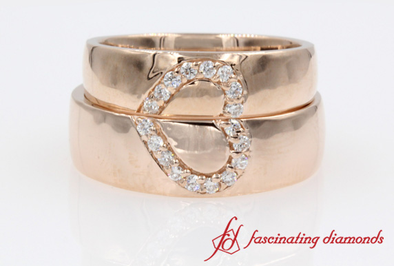 Heart Design Round Diamond Couples Wedding Band In Rose Gold