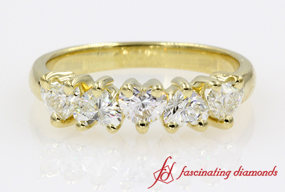 5 Stone Heart Diamond Band
