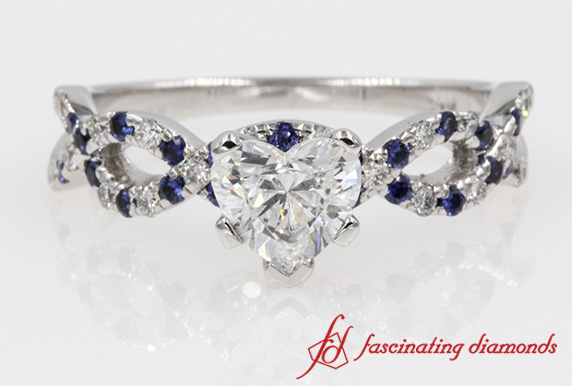 Heart Diamond Infinity With Blue Sapphire Engagement Ring