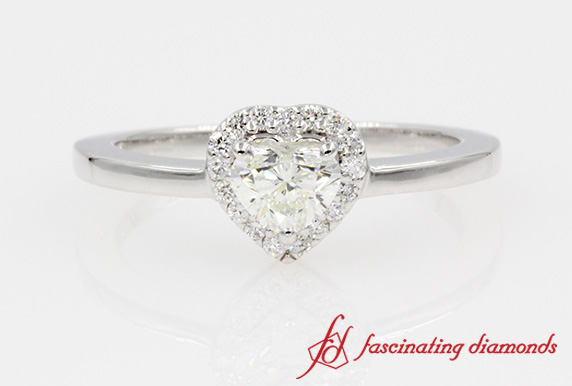 Heart Shaped Diamond Halo Engagement Ring In White Gold-FD1012HTR