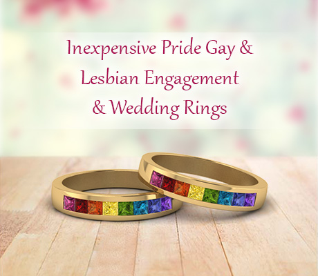 Inexpensive Pride Gay Lesbian Engagement And Wedding Rings