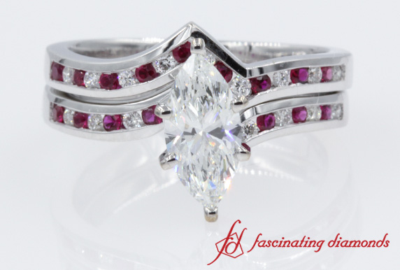 Marquise Diamond & Ruby Bridal Set